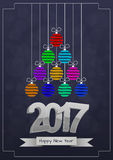 2017 xmas balls. Illustration of 2017 text with christmas balls Royalty Free Stock Image