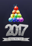 2017 xmas balls. Illustration of 2017 text with christmas balls Royalty Free Stock Images