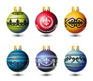 Xmas balls with ornaments Royalty Free Stock Photo