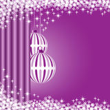 Xmas balls purple. Christmas scene with hanging ornamental purple striped xmas balls, snowflakes and stars. Copy space for text Stock Photography