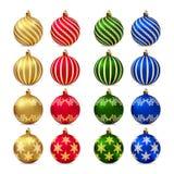 Xmas balls set. Set of 16 realistic Christmas balls Royalty Free Stock Image