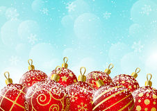 Xmas balls on sky background Royalty Free Stock Photography