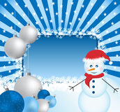 Xmas balls, snowman and sunburst Royalty Free Stock Photography