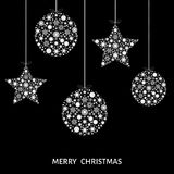 Xmas balls and stars. Christmas white  tree decoration  on black  background. Happy New Year.  Vector template  for greeting  card or party invitation Stock Images