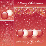 Xmas balls and tree on red. Christmas balls, xmas tree, snowflakes and stars set on a red background Royalty Free Stock Photography