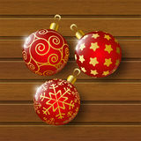 Xmas balls on wood. En background Royalty Free Stock Photo