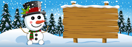 Xmas banner snowman wooden sign snow Royalty Free Stock Photos