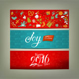 Xmas banners with cute drawings Royalty Free Stock Photo