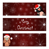 Xmas banners set with cat and dog wish you a Merry Stock Photography