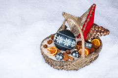 Xmas basket. With decoration  in snow Stock Photos