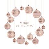 Xmas bauble ball decoration seamless pattern vector illustration Royalty Free Stock Photos