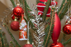 Xmas bauble on tree Royalty Free Stock Photo