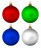 Xmas Baubles. Generic christmas baubles isolated on white background, 3d render royalty free illustration