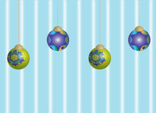 Xmas baubles balls on blue background Royalty Free Stock Photos