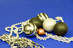 Xmas baubles and beads in silver, black and red Royalty Free Stock Image