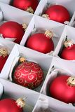 Xmas baubles in box Royalty Free Stock Photo