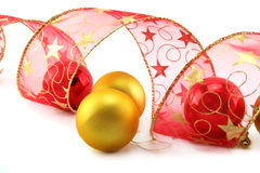 Xmas Baubles And Ribbon Stock Photo