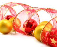 Xmas Baubles And Ribbon Royalty Free Stock Photography