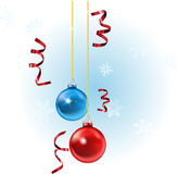 Xmas baubles and streamers. Illustration of christmas baubles and streamers, with snowflakes in the background stock illustration