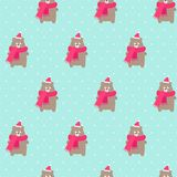 Xmas bear in holidays hat and scarf with snowflakes seamless pattern on polka dots mint green background. royalty free illustration