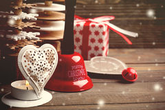 Xmas bell, candle, firs, toys, red gifts Stock Image