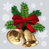 Xmas Bells. Christmas Bells with red ribbon and pine twigs. Vector Illustration Stock Image