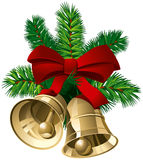 Xmas Bells. Christmas Bells with red ribbon and pine twigs. Vector Illustration Royalty Free Stock Photos
