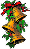 Xmas bells and holly. Illustration of bells and holly tied with ribbon stock illustration
