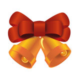 Xmas bells with red bow Stock Photos