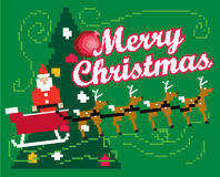 Xmas 8bit. An Illustration of Santa Claus with a bag of toys infront of the christmas tree 8bit gaming style Royalty Free Stock Image