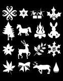 Xmas bling. Silhouete illustration of christmas items on black Stock Photos
