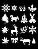 Xmas bling. Silhouete illustration of christmas items on black royalty free illustration