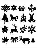 Xmas bling. Silhouete illustration of christmas items on white Royalty Free Stock Photo
