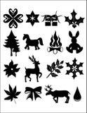 Xmas bling. Silhouete illustration of christmas items on white royalty free illustration