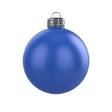 Xmas blue bauble. 3d render of shiny blue xmas bauble on white background Stock Images