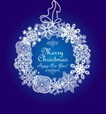 Xmas blue card with hanging paper snowflakes wreath Stock Photography