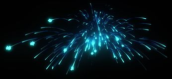 Xmas: blue festive fireworks at night. Over black Stock Photo