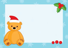 Xmas blue horizontal frame brown teddy. Vector Christmas background with a blue frame, snowflakes, holly berries and a brown teddy bear wearing Santa hat. Place stock illustration