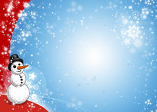 Xmas Blue and Red Xmas. Snowman xmas blue and red card background with snowflakes Stock Photo