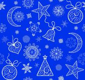 Xmas blue wallpaper with vintage golden pattern. Xmas blue wallpaper with golden vintage pattern Stock Image