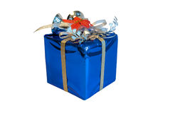 Xmas blue wrapped gift isolated Royalty Free Stock Photo