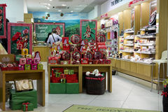 Xmas The Body Shop. VILNIUS, LITHUANIA - DECEMBER 21: Xmas The Body Shop  perfume store in  Panorama market on December 21, 2013 in Vilnius, Lithuania.  The Body Royalty Free Stock Image