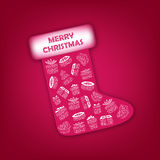 Xmas boot with gifts. Red boot with white gifts into Royalty Free Stock Photography