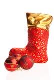 Xmas boot and red balls Royalty Free Stock Image