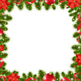 Xmas Border. With Flowers, Vector Illustration Stock Photography