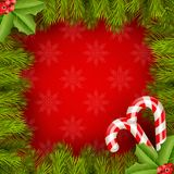 Xmas Border Fir Tree Branches with candy Stock Photo