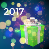 Xmas box on bokeh background. Vector Stock Images