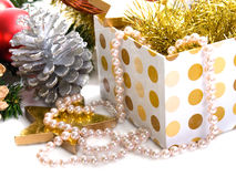 Xmas box with pearls Stock Images