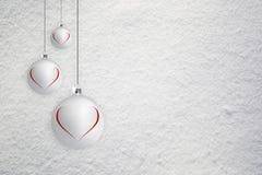 Xmas bulbs with illustrated heart symbols Stock Image