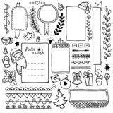 Bullet journal hand drawn vector elements for notebook, diary and planner. Set of doodle frames, banners and floral and Christmas elements isolated on white vector illustration